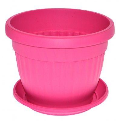 Γλάστρα πλαστική με πιάτο - Φούξια - No 18