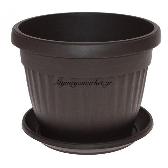 Γλάστρα πλαστική με πιάτο - Καφέ σκούρο - No 18 | Mymegamarket.gr