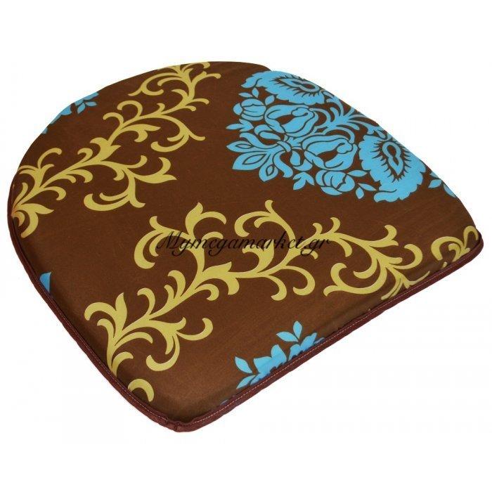 Μαξιλάρι πέταλο - Filler - Σχέδιο καφέ με γαλάζια λολούδια