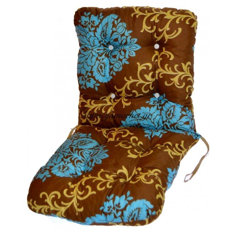 Μαξιλάρι κάθισμα με πλάτη - μπαμπού - Καφέ με λουλούδια