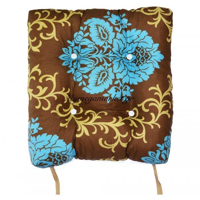Μαξιλάρι κάθισμα - μπαμπού - Καφέ με λουλούδια | Mymegamarket.gr