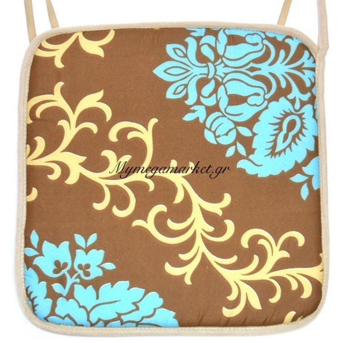 Μαξιλάρι καρέκλας με ρέλι καφέ - Γαλάζια λουλούδια | Mymegamarket.gr