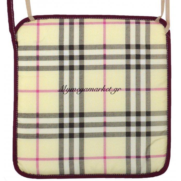 Μαξιλάρι καρέκλας με ρέλι μπέζ - Καρώ | Mymegamarket.gr