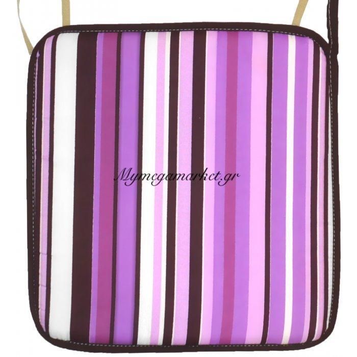 Μαξιλάρι καρέκλας με ρέλι –Σχέδιο γραμμές μώβ | Mymegamarket.gr