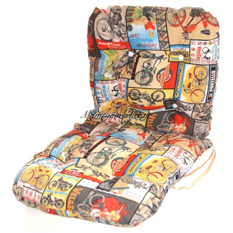 Μαξιλάρι μπαμπού - ύφασμα λονέτα - με πλάτη - Vintage