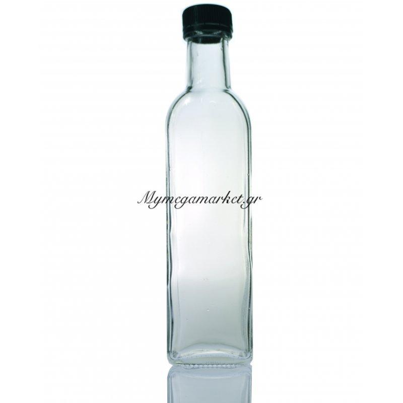 Μπουκάλι γυάλινο - τετράγωνο με βιδωτό καπάκι - Marasca - 100ml
