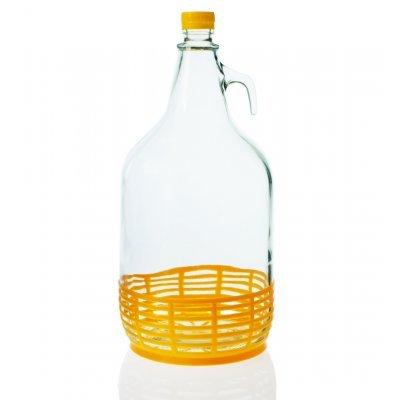 Νταμιτζάνα γυάλινη με ψαθί πλαστικό - 5 Λίτρα