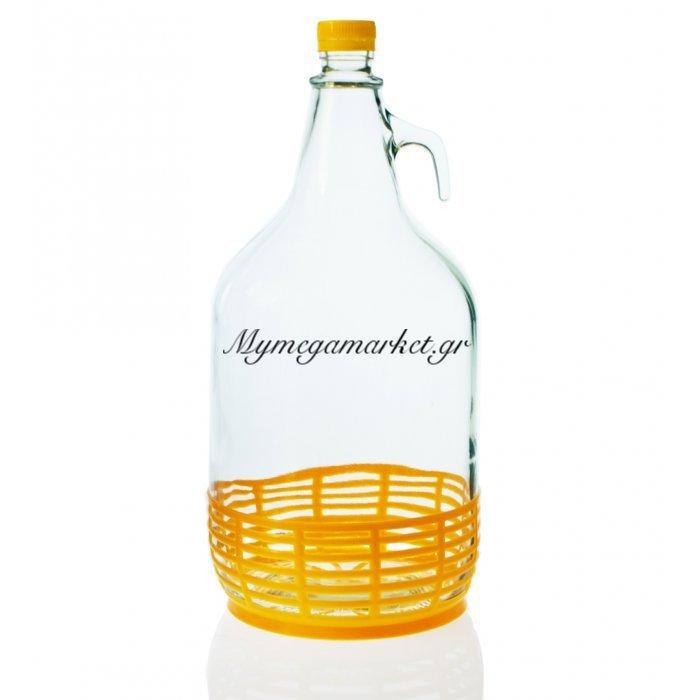 Νταμιτζάνα γυάλινη με ψαθί πλαστικό - 5 Λίτρα | Mymegamarket.gr