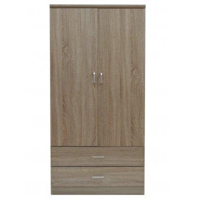 Ντουλάπα ξύλινη δίφυλλη σε φυσικό χρώμα με 2 συρτάρια 3882/nat - Tns