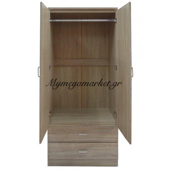 Ντουλάπα ξύλινη δίφυλλη σε φυσικό χρώμα με 2 συρτάρια 3882/nat - Tns Στην κατηγορία Ντουλάπες ξύλινες - Μεταλλικές | Mymegamarket.gr