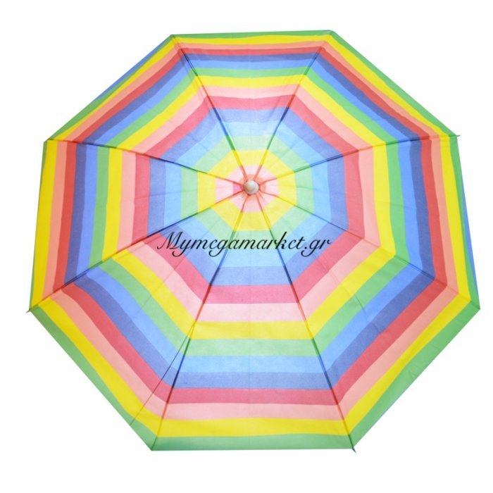Ομπρέλα θαλάσσης από ύφασμα βισκόζη με ρίγες πολύχρωμες - 180 cm | Mymegamarket.gr