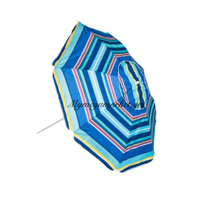 Ομπρέλα θαλάσσης Polyester με ρίγες γαλάζιες - 200 cm | Mymegamarket.gr