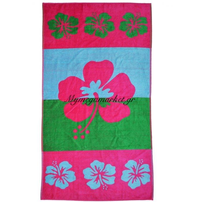 Πετσέτα θαλάσσης Jacquard design Flower 86 x 160 cm | Mymegamarket.gr