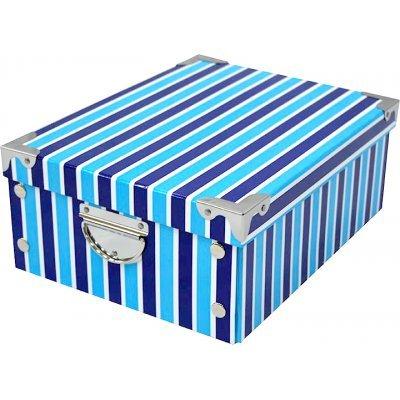 Κουτί αποθήκευσης απο χαρτόνι υψηλής ποιότητας σχέδιο μπλέ ρίγες με μεταλλικά χερούλια