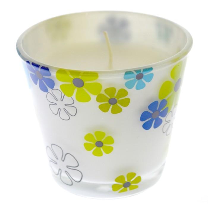 Ποτήρι διακοσμητικό σχέδιο μαργαρίτες με αρωματικό κερί | Mymegamarket.gr