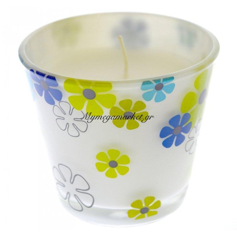 Ποτήρι διακοσμητικό σχέδιο μαργαρίτες με αρωματικό κερί