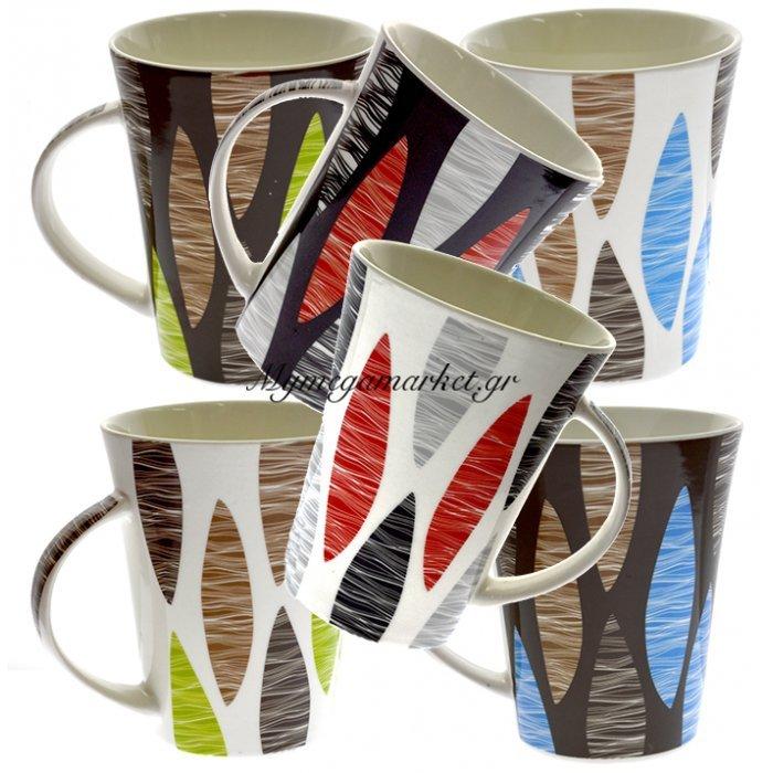 Κούπα καφέ rhombus πορσελάνινη σε 6 σχέδια 350 ml | Mymegamarket.gr