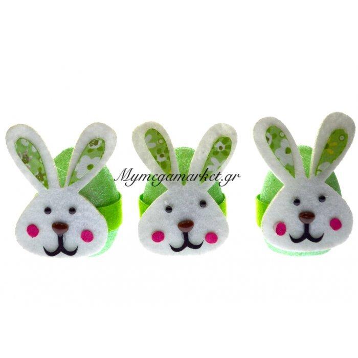 Αυγά κουνελάκια διακοσμητικά σέτ 3 τεμ. σε πράσινο χρώμα | Mymegamarket.gr