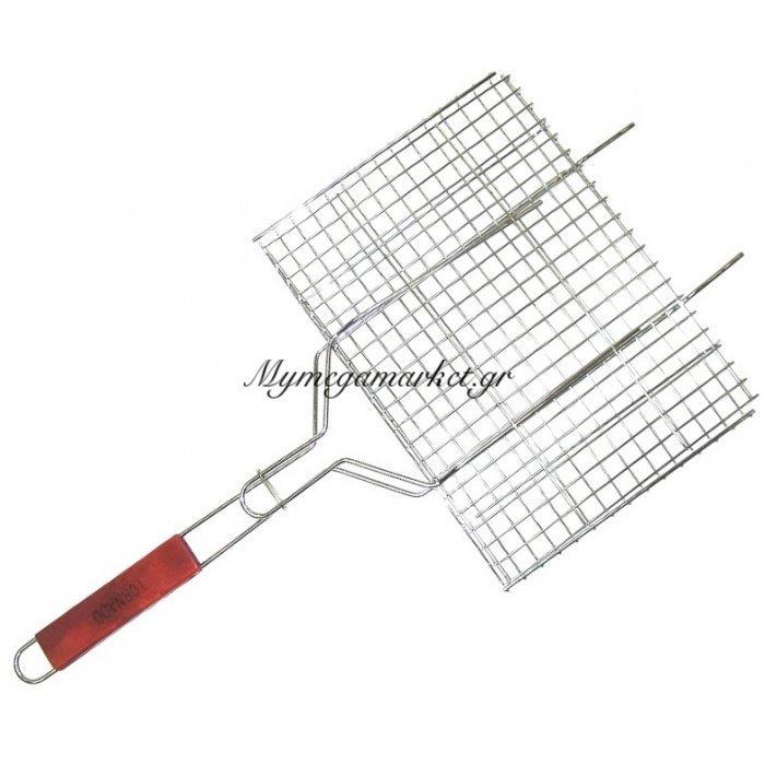 Σχάρα ψησίματος χρωμίου με ξύλινη λαβή 44 x 26 cm | Mymegamarket.gr
