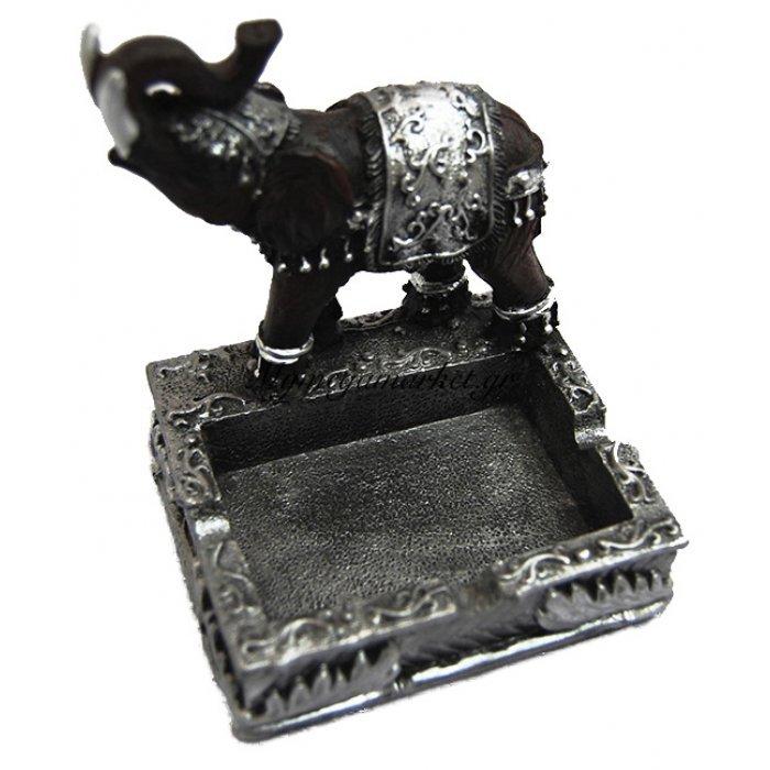 Τασάκι κεραμικό ελεφαντάκι με επιχρωματισμένο ασημί | Mymegamarket.gr