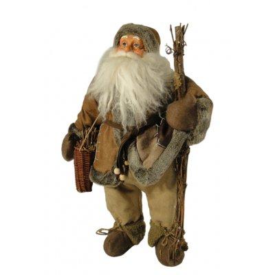 Άγιος Βασίλης με ξύλα και καλάθι δαπέδου με καφέ ρουχισμό