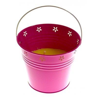 Αντικουνουπικό κερί αρωματικό σε φούξια γλαστράκι μεταλλικό