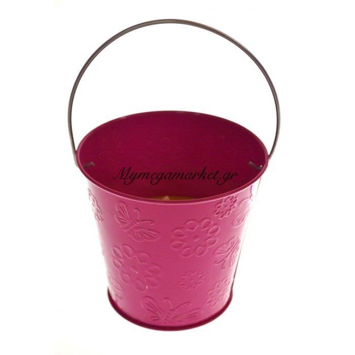 Αντικουνουπικό κερί αρωματικό σε φούξια γλαστράκι μεταλλικό | Mymegamarket.gr