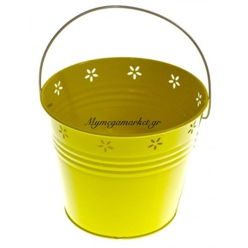 Αντικουνουπικό κερί αρωματικό σε κίτρινο γλαστράκι μεταλλικό μεγάλο