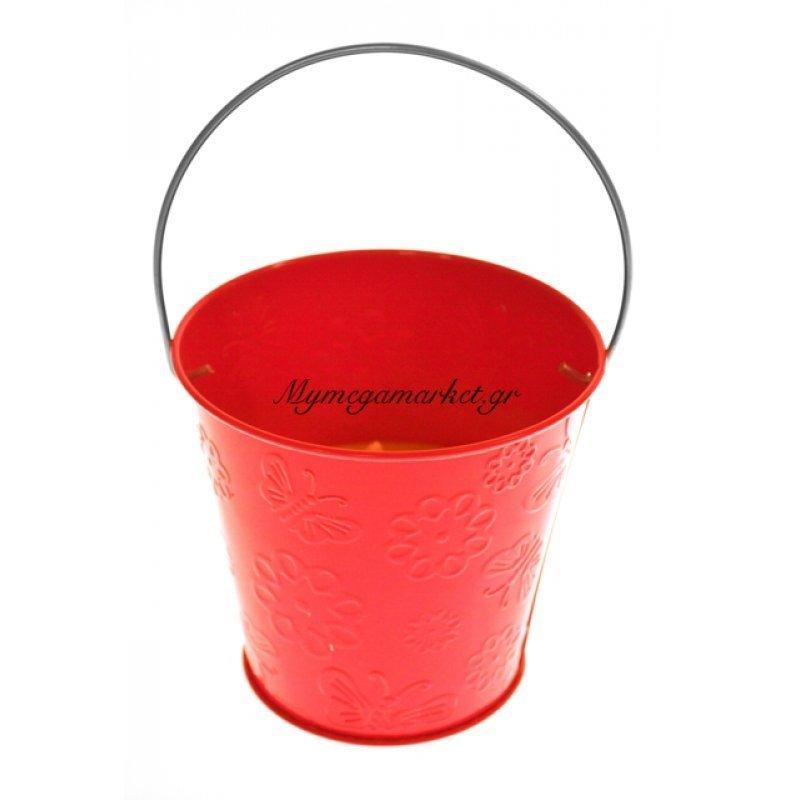 Αντικουνουπικό κερί αρωματικό σε κόκκινο γλαστράκι μεταλλικό by Mymegamarket.gr