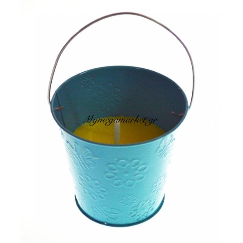 Αντικουνουπικό κερί αρωματικό σε τιρκουάζ γλαστράκι μεταλλικό