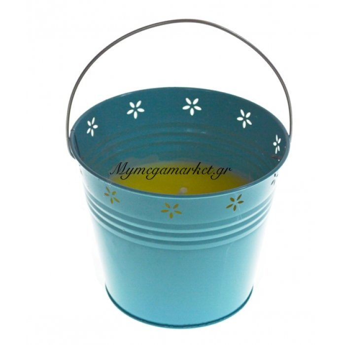 Αντικουνουπικό κερί αρωματικό σε τιρκουάζ γλαστράκι μεταλλικό μεγάλο | Mymegamarket.gr