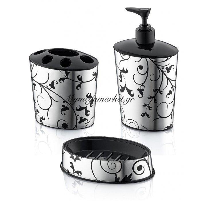 Αξεσουάρ μπάνιου decor με κλαριά ασημί - μαύρο - Σέτ 3 τεμαχίων | Mymegamarket.gr