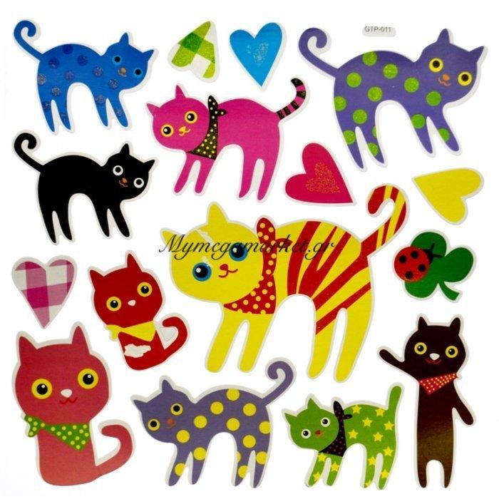 Αυτοκόλλητα τοίχου με γατούλες   Mymegamarket.gr