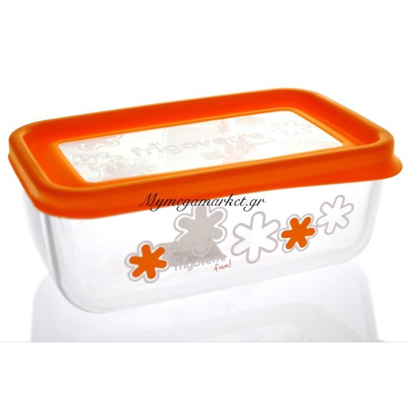 Δοχείο φαγητού Frigoverre γυάλινο με καπάκι σε πορτοκαλί χρώμα Στην κατηγορία Γυάλινα τάπερ | Mymegamarket.gr
