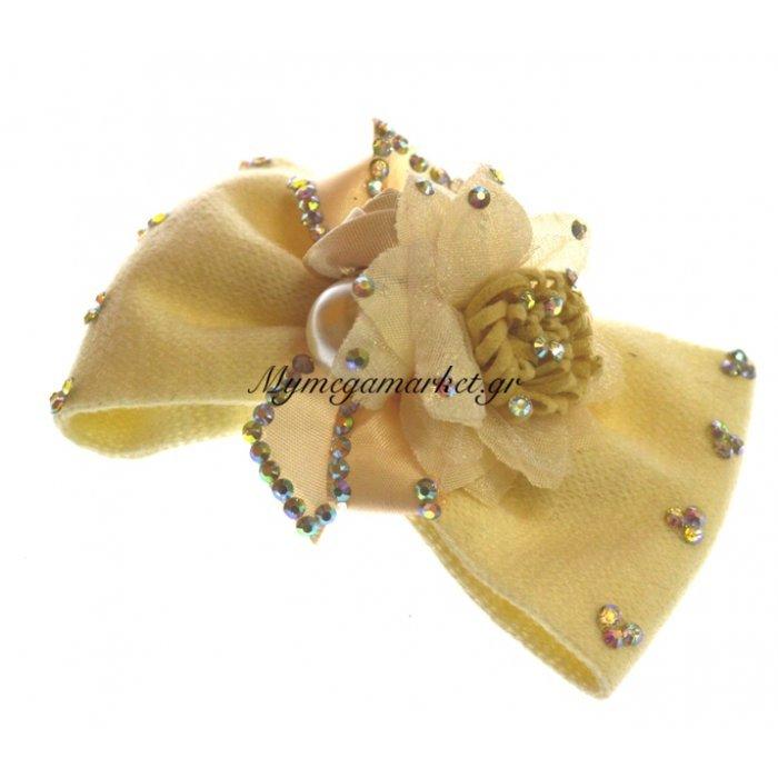 Φιόγκος μαλλιών με τσιμπιδάκι σε μπέζ χρώμα | Mymegamarket.gr