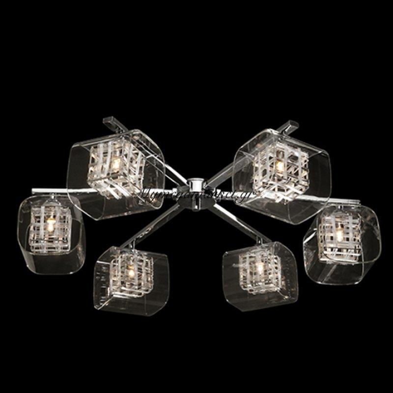 Φωτιστικό οροφής εξάφωτο με τετράγωνα γυαλιά - Nava