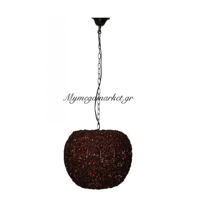 Φωτιστικό οροφής μελί μονόφωτο με χάντρες | Mymegamarket.gr