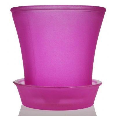 Γλαστράκι με πιάτο γυάλινο σε φούξια χρώμα