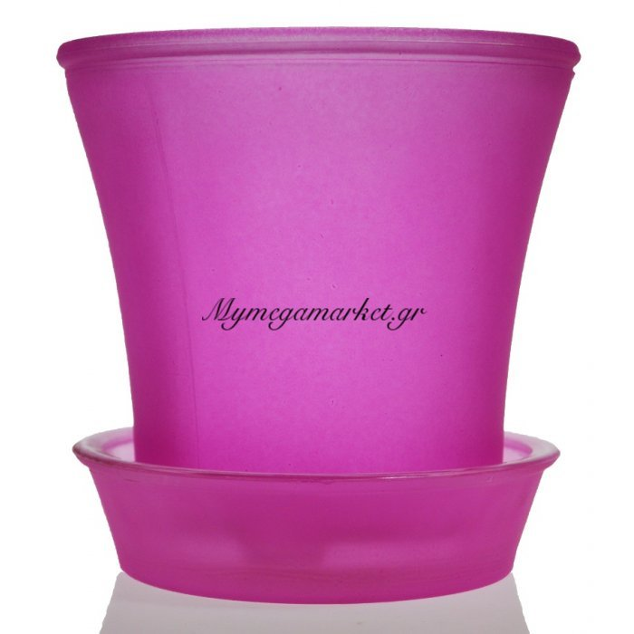 Γλαστράκι με πιάτο γυάλινο σε φούξια χρώμα   Mymegamarket.gr