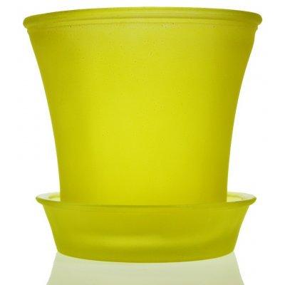 Γλαστράκι με πιάτο γυάλινο σε κίτρινο χρώμα