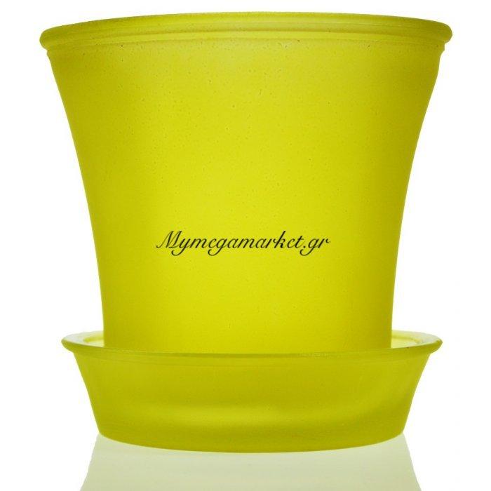Γλαστράκι με πιάτο γυάλινο σε κίτρινο χρώμα   Mymegamarket.gr