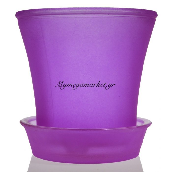 Γλαστράκι με πιάτο γυάλινο σε μώβ χρώμα   Mymegamarket.gr