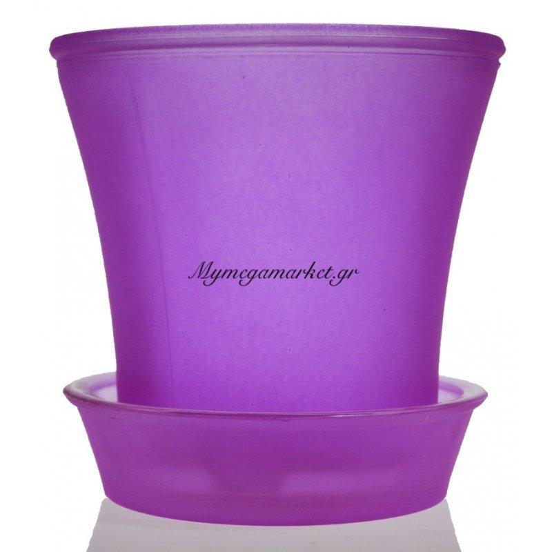 Γλαστράκι με πιάτο γυάλινο σε μώβ χρώμα