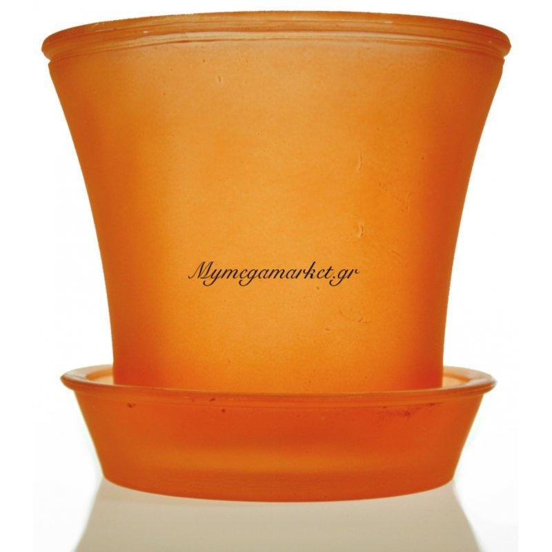 Γλαστράκι με πιάτο γυάλινο σε πορτοκαλί χρώμα