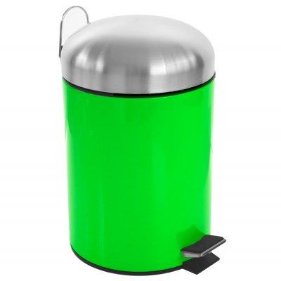 Κάδος μπάνιου 5 λίτρων με πεντάλ σε λαχανί χρώμα και ανοξείδωτες λεπτομέρειες