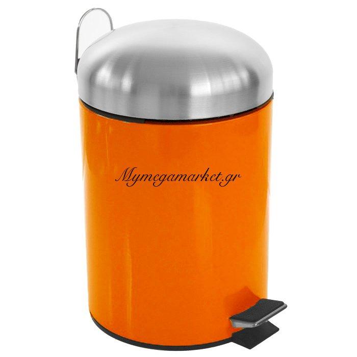 Κάδος μπάνιου 5 λίτρων με πεντάλ σε πορτοκαλί χρώμα και ανοξείδωτες λεπτομέρειες | Mymegamarket.gr