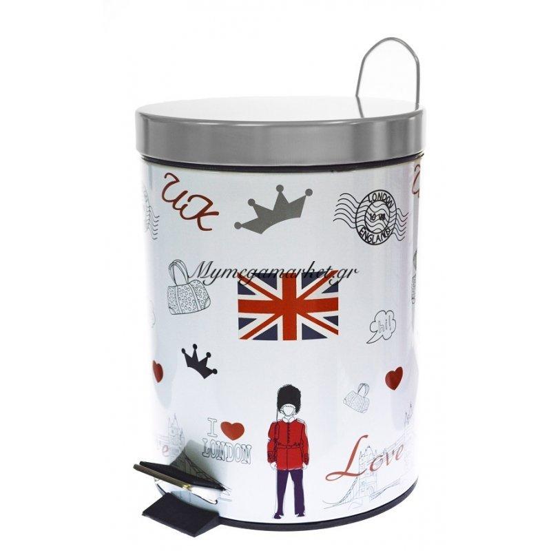 Κάδος μπάνιου με πεντάλ μεταλλικό σχέδιο Love London