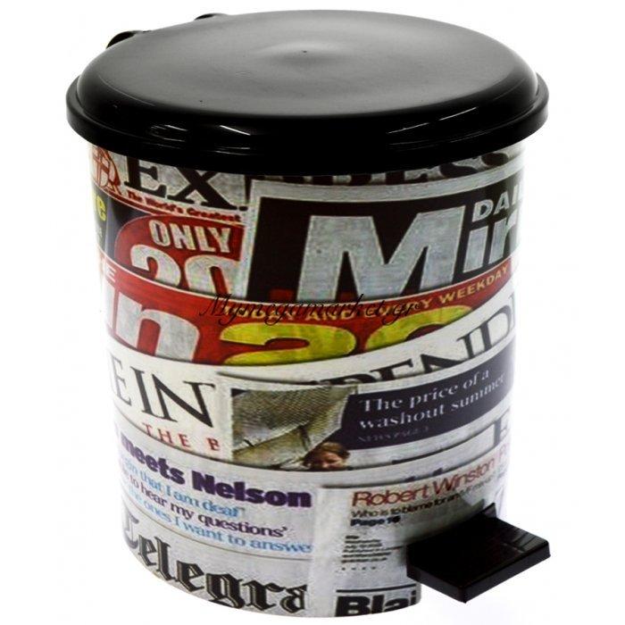 Κάδος μπάνιου με πεντάλ σχέδιο NEWSPAPER με μάυρο καπάκι 10 λίτρων   Mymegamarket.gr