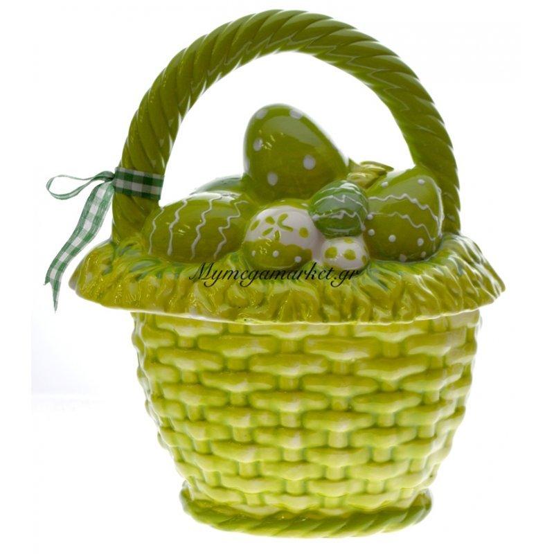 Καλάθι πορσελάνινο με καπάκι οβάλ σε πράσινο χρώμα