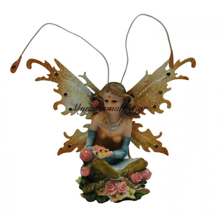 Κεραμική νεράιδα με κίτρινα φτερά | Mymegamarket.gr